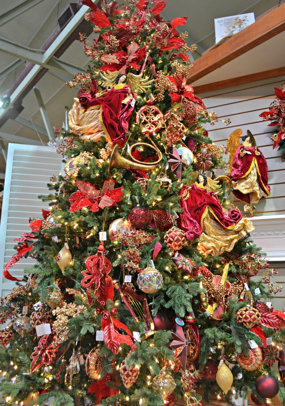 Wonderful Maroon Christmas Ornaments Part - 7: Majesty Christmas Tree Maroon Gold Angels Instruments