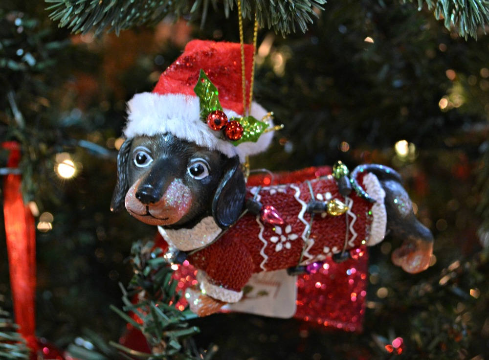Santa Paw puppy sweater Christmas ornament