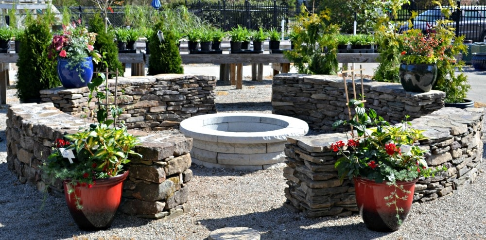 building a fire pit and seating wall fairview garden center. Black Bedroom Furniture Sets. Home Design Ideas